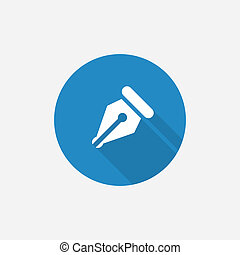 pen Flat Blue Simple Icon with long shadow