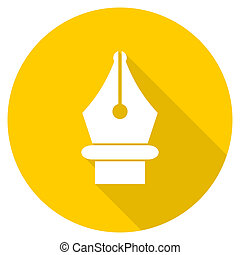 pen flat design yellow web icon