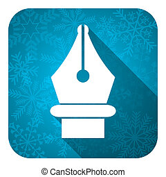 pen flat icon, christmas button