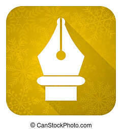pen flat icon, gold christmas button