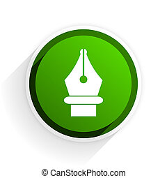 pen flat icon with shadow on white background, green modern design web element
