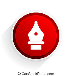 pen flat icon with shadow on white background, red modern design web element
