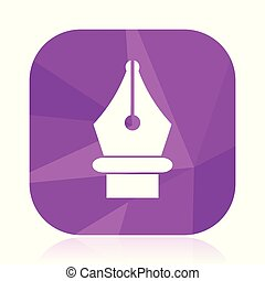 Pen flat vector icon. Write violet web button. School internet square sign. Caligraphy modern design symbol in eps 10.