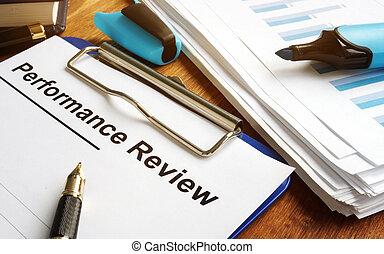 pen., formulaire, revue, presse-papiers, performance