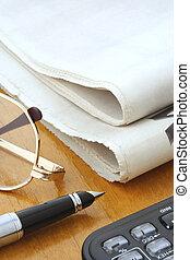 pen, glas, avis, regnemaskine