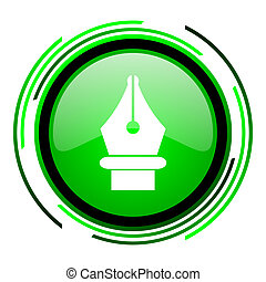 pen green circle glossy icon