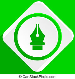 pen green flat icon