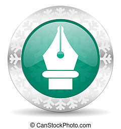 pen green icon, christmas button