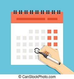 pen, hand, kalender, mark