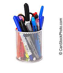 Pen Holder - Pewter Round Desktop pen /pencil holder