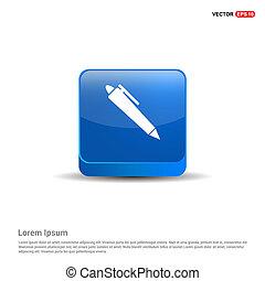 Pen Icon - 3d Blue Button