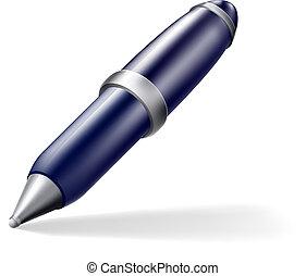 Pen icon - A cartoon blue and silver cartoon pen icon with ...