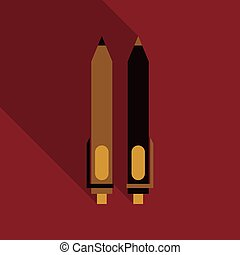 Pen icon automatic in flat style with shadow