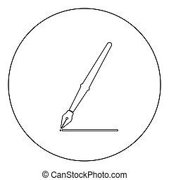 Pen icon black color in circle