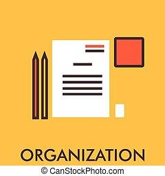 pen., icon., concept., elements., アイコン, organization., paper., デザイン, 線, design., 平ら