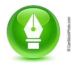 Pen icon glassy green round button