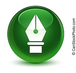 Pen icon glassy soft green round button