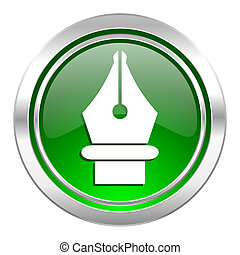 pen icon, green button
