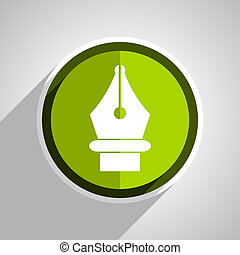 pen icon, green circle flat design internet button, web and mobile app illustration