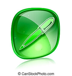 pen icon green glass, isolated on white background.