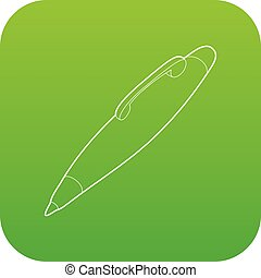 Pen icon green vector