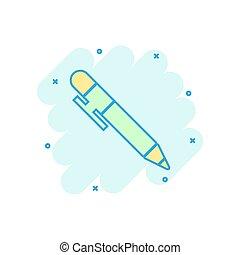 Pen icon in comic style. Highlighter vector cartoon illustration pictogram. Pen business concept splash effect.