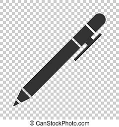 Pen icon in flat style. Highlighter vector illustration on isolated background. Pen business concept.