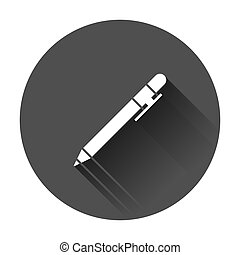 Pen icon in flat style. Highlighter vector illustration with long shadow. Pen business concept.