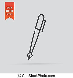 Pen icon in flat style isolated on grey background.