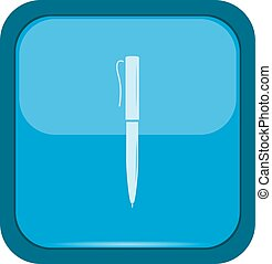 Pen icon on a blue button