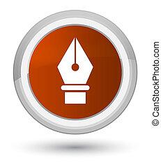 Pen icon prime brown round button
