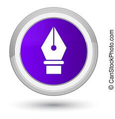 Pen icon prime purple round button