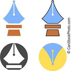 Pen icon set. Fountain pen vector icons.