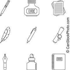Pen icon set, outline style - Pen icon set. Outline set of 9...