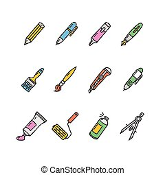 Pen Icon Set. Vector - Pen Colorful Icon Set on a White....