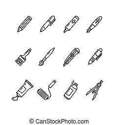 Pen Icon Set. Vector