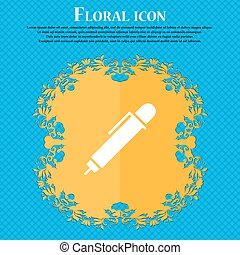 pen icon sign. Floral flat design on a blue abstract background with place for your text. Vector