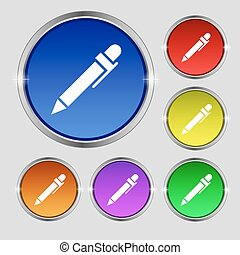 pen icon sign. Round symbol on bright colourful buttons. Vector