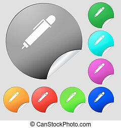 pen icon sign. Set of eight multi colored round buttons, stickers. Vector