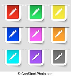 pen icon sign. Set of multicolored modern labels for your design. Vector