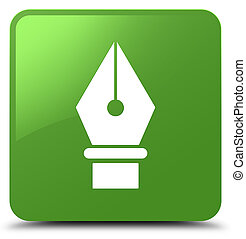 Pen icon soft green square button