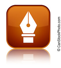 Pen icon special brown square button