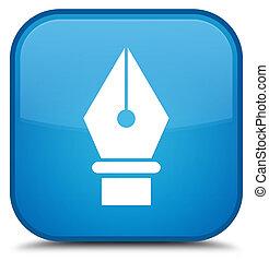 Pen icon special cyan blue square button