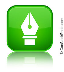 Pen icon special green square button