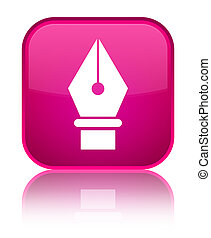 Pen icon special pink square button