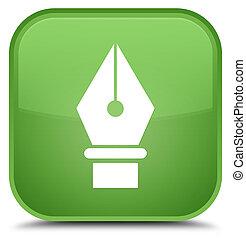 Pen icon special soft green square button