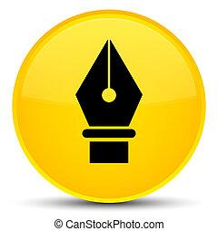 Pen icon special yellow round button