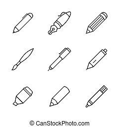 Pen icons - Writing tools. Pencil, pen, fountain pen, brush...