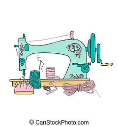 pen., illustration., silhouette, vecteur, vendange, main, machine, encre, fils, couture, dessiné