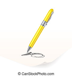 Pen - Vector image of yellow pen writing on paper